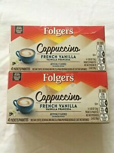 Folgers Cappuccino Single Serve Packets French Vanilla 4Ct Exp 9/13/2020 2 Packs