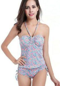 Women Swimwear Tankini Beachwear Splash Print Bikini Sets, Size 10/12/14/16