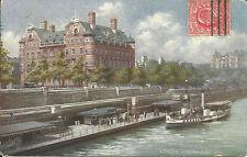 London Westminster Pier Scotland Yard steamer Raphael Tuck Oilette posted 1905