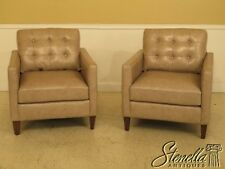 45382EC: Pair Modern Design Leather Club Chairs