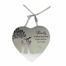 Family is where your story begins and love never ends Mirrored Hanging Plaque