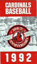 1992 ST. LOUIS CARDINALS POCKET SCHEDULE - 100th ANNIVERSARY ON FRONT