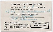1960s BRONX New York City POLITICAL Palm POLL Card DEMOCRATIC PARTY Democrats