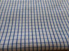 Antique French Blue Homespun Check Loom Woven Linen Cotton Fabric #2~ Farmhouse