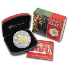 Perth Mint Australia $1 Lunar Series II Gilded Tiger 2010 1 oz .999 Silver Coin