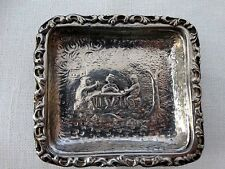 Three Antique Silver Plate Small Nut Dishes Repousse Figural