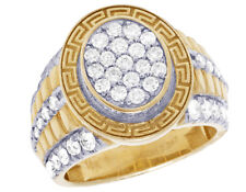 Mens 10K Yellow Gold Cluster Real Diamond Greek Step Shank Pinky Ring 2 1/2CT