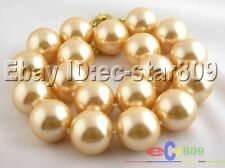 "p297 17"" 18mm champagne round south sea shell pearls necklace"