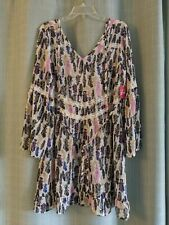 Bongo Boho Dress Blue Pink Sheer Feather Print Lace Bell Sleeves, Size L