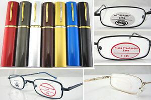 L120 Superb Quality Reading Glasses/Spring Hinges & Aluminum Alloy Pen Tube Case