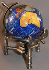 Multi-Gemstone 90mm Desktop Globe in Navy Blue Pearl Pewter Tone Base Free S&H