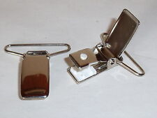 1 Paar Hosenträgerclip Clip Verschluss  30 mm silber  NEUWARE