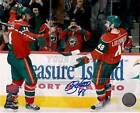Guillaume Latendresse Minnesota Wild Signed Celebration with Havlat 8x10