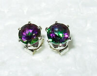 MYSTIC TOPAZ GREEN PURPLE GENUINE  5MM STUD EARRINGS .925 STERLING SILVER