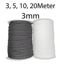 Gummilitze Gummiband 3mm schwarz, weiß Elastikkordel weich Lochgummi Wäschegummi