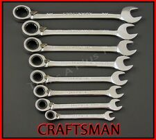 CRAFTSMAN HAND TOOLS 8pc FULL POLISH SAE Reversible Ratcheting Box Wrench set