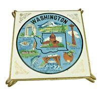 """Vintage Washington State Tile Trivet - 6"""" - Space Needle, Mt Rainier, Peace Arch"""