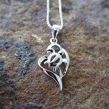 Hawaiian Honu Turtle Heart Genuine 925 Sterling Silver Pendant Necklace SP26001