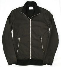 HERMES men's zip front black fleece lined brown stretch nylon riding jacket M