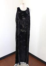 Citron Santa Monica Black Silk Burnout Velvet Oriental Midi Maxi Dress Size M