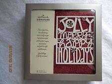 "Hallmark Christmas Cards Box 8 Cards & Envelopes Glitter Embossed 6-7/8""x 4-3/4"""