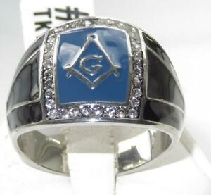 Mes masonic ring blue cz signet stainless steel agate  silver military mans1612