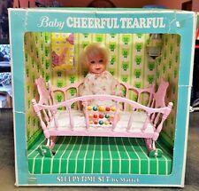 Vintage 1966 Mattel BABY CHEERFUL TEARFUL Doll NIB Sleepytime Set Bottle Cradle