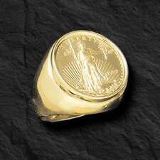 22K FINE GOLD 1/4 OZ US LIBERTY COIN in Heavy 14k Solid Yellow Gold Ring 25 MM