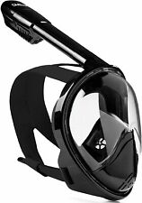 Snorkel Mask Full Face Snorkeling & Diving Mask w 180° Panoramic Black L-XL NEW