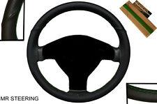 FOR PEUGEOT 206 98-11 FANCY BLACK LEATHER STEERING WHEEL COVER GREEN  STITCH