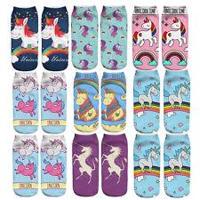 1 Paire Chaussettes 3D Unicorn Imprimé Cheville Socquettes Bas Femme Fille Socks