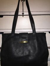 Wilson BLACK Leather Carry-All Tote Shoulder Bag  Laptop Briefcase Purse