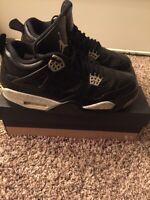 Air Jordan Retro 4 Black Oreo Size 10.5 Leather Upper Basketballs Shoes Yr 2014