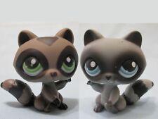 Littlest Pet Shop Lot Raccoon Gray and Black 450 196 Set Authentic Original Lps