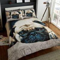 Duvet Cover Set 3D Animal Bedding Pillow Case Sweet Pug Design Double & King