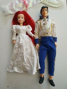 Vintage ERIC & ARIEL The Beautiful Bride - The Little Mermaid DOLLS Disney TYCO