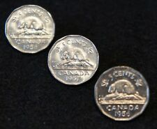 1956-58 Canadian 5 Cent Nickels  in BU Condition Nice Old Collectible Set!
