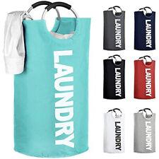 Foldable Laundry Basket 82L Large Foldable Bag Oxford Fabric Hamper (Blue)