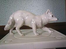 "Vintage Porcelain Enesco White Artic Fox Figurine 6"" Long"