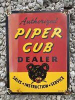 Vintage 1945 Piper Cub Porcelain Metal Sign Aircraft Plane Aviation Gas Oil Bear