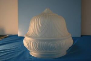 Light Shade Art Nouveau Style With Frosted Glass & Leaf Design