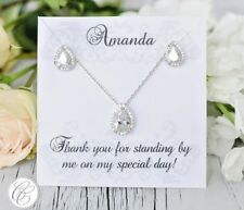 White Gold Bridesmaid Jewelry | Personalized Bridesmaid Gifts | Wedding Jewelry