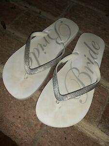 Target Medium Size 7 Silver Glitter BRIDE Flip Flops Thongs Sandals Shoes❤️tw11j