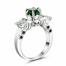 Rhodium White Gold Plated ring Size 9 Wedding Engagement Emerald Anniversary