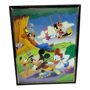 'Vintage' Framed Disney Art - Mickey + Minnie + Goofy + Daisy + Huey - ~A4 Size