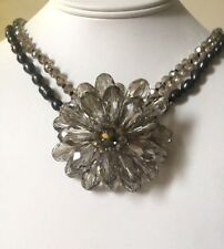 LUSH Double Row Genuine Pearl, Crystal BIG Flower Design Necklace Rocks Boutique