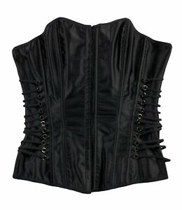 Vintage Frederick's of Hollywood Corset Bustier Black Lace Up Y2K Size M