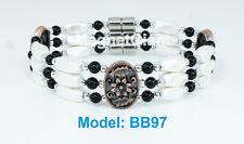 Silver&Copper Plating Triple high power magnetic white hematite beaded bracelet