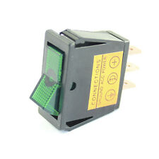 Green Illuminated Rocker Switch - On / Off  - Car Tractor 12v Dash Light