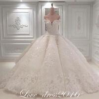 Luxury Shinning White/Ivory A-Line Wedding Dress Bridal Ball Gown Custom Plus28+